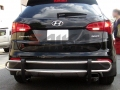 <b>13-15 Hyundai Santa Fe</b> Stainless Steel Double Tube Rear Bumper Guard