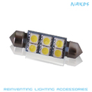 NX-FES42-5-6 - FESTOON 42MM 5050 6 SMD Twin Set of LED Bulbs (4 Colors Avail.) by NAXOS
